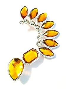 Gold Teardrop Spike Acrylic Jeweled Ear Cuff
