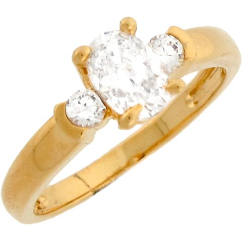 10k Real Gold Beautiful Oval White CZ Promise Ring with Round Accents