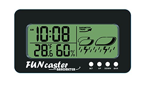 FUNcaster Barometer Golf Cart Ambient Weather Clock Boat Office Home w/ Time, Temperature, Humidity, and Weather Forecast in Large Easy to See Size, AAA Batteries Included