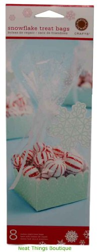 Christmas cellophane gift bags fancy gift wrap snowflake treat bags tags ribbon 8 holiday martha stewart crafts negle Images