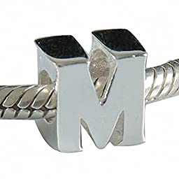 Hoobeads Authentic 925 Sterling Silver Letter Initial A-z Alphabet Beads Fits Pandora Bracelet Charms (M)