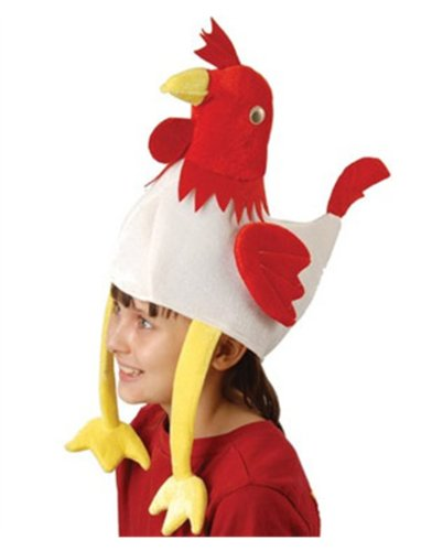 Deluxe Stuffed Plush Chicken Rooster Hat Costume Party Cap - 1