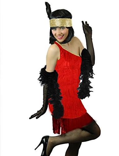 Yummy Bee Sexy Red Flapper Charleston Cosplay Costume Women Boa Gloves Plus Size 2-14