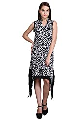 New Sierra women Crepe black printed collar cross midi dress