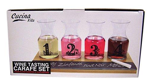 Cucina Vita Wine Tasting Carafe Glass Set of 4 with Chalkboard (Carafe With Chalkboard compare prices)