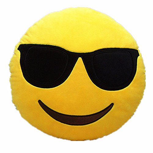 Lowest Prices! LI&HI 32cm Emoji Smiley Emoticon Yellow Round Cushion Pillow Stuffed Plush Soft Toy (...