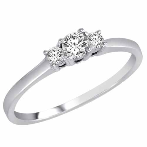 DivaDiamonds 14K White Gold 3 Three Stone Round Brilliant Diamond Ring (1/4 cttw) &#8211; Size 6