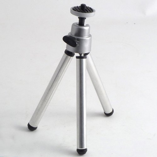 BRAND NEW SILVER MINI CAMERA TRIPOD / CAMERA STAND - IDEAL FOR HOLIDAYS -RUBBER GRIP FEET -6MM SCREW HEAD