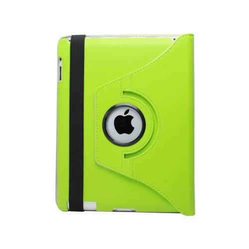 Fosmon 360 Degree Revolving PU Leather Case With Multi Angle Stand for Apple New iPad 3 - Green (w/Magnetic Sleep Function)