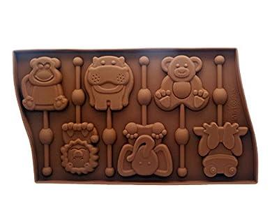 Yunko 6 Cavity Animal Shape Qute Lollipop Silicone Chocolate Candy Mold with Sticks ,Elephant Hippo Frog Monkey Bear Lion