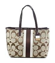 Hot Sale Coach Signature Hampton Medium Tote Bag - Khaki/Brown