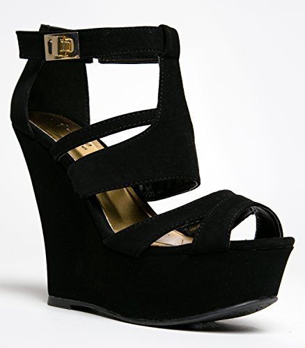 All Black Wedge Sandals