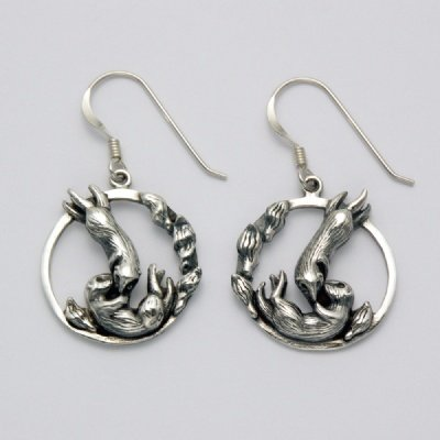 Two Otters in a Circle Earrings