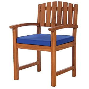 TEAK Outdoor Dining Chairs/Table Sets and Patio Furniture Arm Chair /w blue cushion