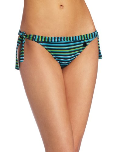 Calvin Klein Women's ckone tubular stripe tie side classic swimsuit bottom,Cyan Blue,Large
