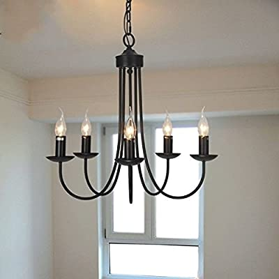 Retro Black Pendant Lamp Chandelier Lighting 5 Candle Light Hanging Fixtures ;TM79F-32M UGBA165373