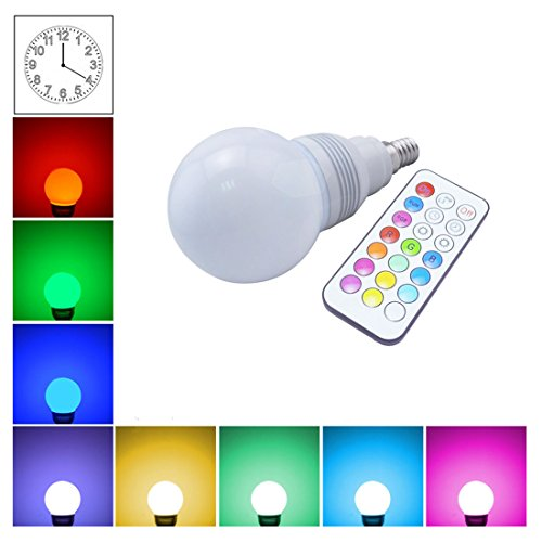 Grexistar 3W E14 Colorful Rgb Customized Timing Setting Led Bulb Light Pp Ir Remote Control For Christmas Wedding Party House Home Indoor Or Outdoor Illumination And Beautification, White Case