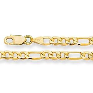 14K Yellow Gold Light Figaro Chain Bracelet - Width 3.5mm - Length Length 8.5 Inch