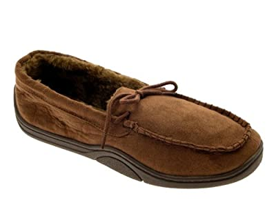 Mens Warm Slippers Moccasins Fauxn Suede Sheepskin Fur Lined Shoes Size UK 6-11