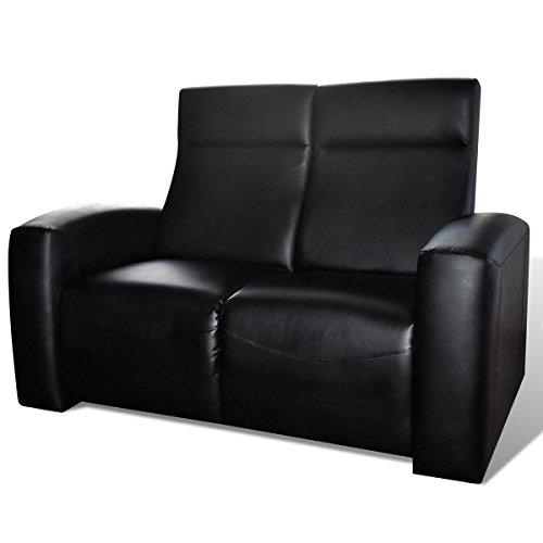 Luxus Ledermix Heimkino Sofa Sessel 2 Sitzer Schwarz