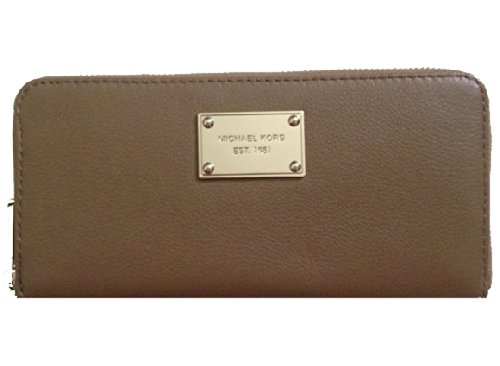 Michael Kors Zip Around Continental Wallet Dark Dune Pebbled Leather