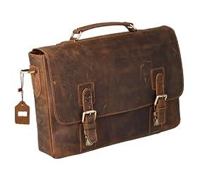 """Kattee Vintage Genuine Leather Briefcase Messenger Bag, Fit 14"""" Laptop by Kattee"""