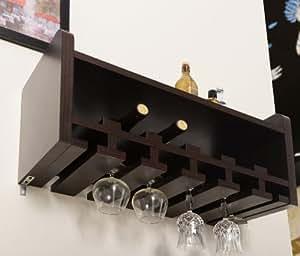 Furniture of America Venire Wall-Mounted Wine Rack and Glass Holder, Walnut