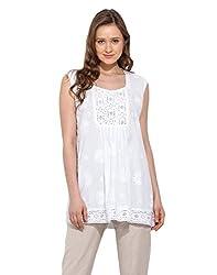 Saiesta Women's White Chikankari Embroidered Lace Top