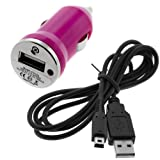 GTMax Hot Pink MINI USB Car Charger Vehicle Power Adapter + Black 2-In-1 USB Data Hotsync & Charging Cable for Nintendo 3DS /DSI
