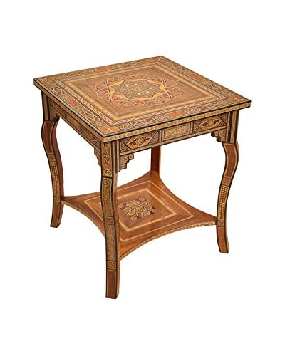 Hannibal Square Inlay Side Table, Brown/Red