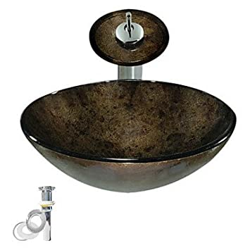 QUEEN'S HOME Black Tempered Glass Vessel Sink With Waterfall Faucet ,Pop - Up drain and Mounting Ring