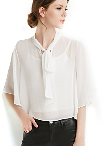 la13tn-damen-casual-brust-schnurung-chiffon-business-sommer-t-shirts-gr-xs-whiteorange