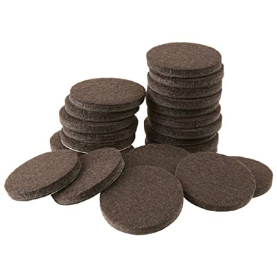 """Self-Stick 1"""" Furniture Felt Pads for Hard Surfaces (16 piece) - Brown, Round"""
