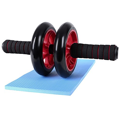 songmics-ab-roller-red-foam-handles-with-comfortable-non-slip-extra-thick-knee-pad-mat-spu75r