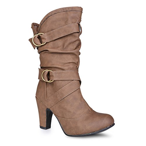 Twisted Women's Alla Wide Width Faux Leather High Heeled Fashion Boot with Buckle Straps - LT TAUPE, Size 11