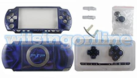 PSP2000 front + back faceplate & buttons (psp2000 housing shell)--3D Blue