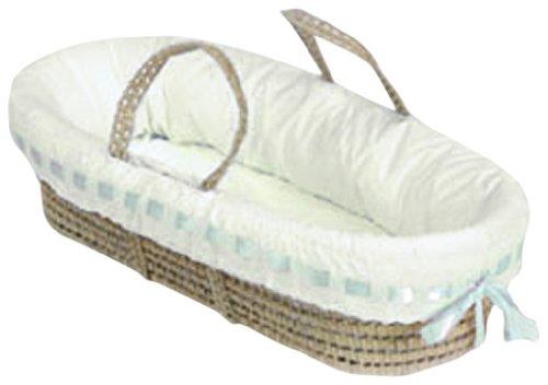 Baby Doll Bedding Pretty Ribbon Moses Basket, Blue