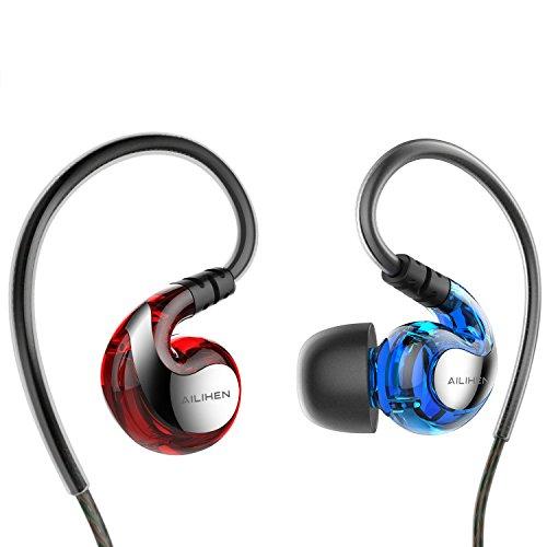AILIHEN SE-01イヤホン ヘッドフォン インイヤー耳掛け型 マイク付き iPhone6対応 (ブルーレッド)
