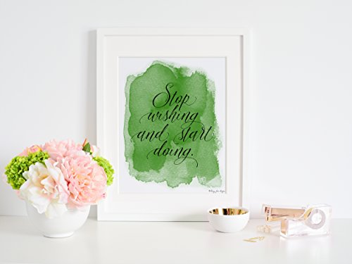 stop-wishing-and-start-doing-by-penny-jane-design-green-and-black-watercolor-print-home-decor-nurser