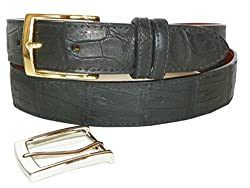 Caiman Crocodile Belt by Charles Underwood - 2 Classic Buckles, Black, Size 44