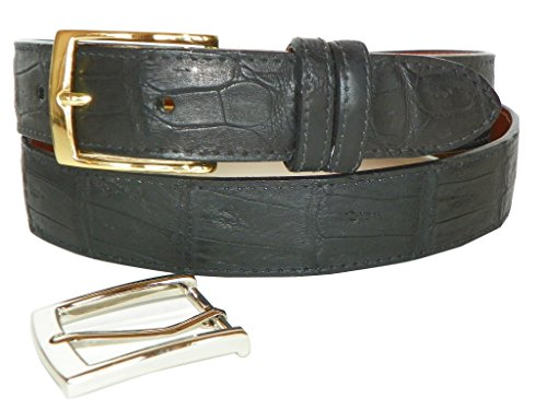 Caiman Crocodile Belt by Charles Underwood - 2 Classic Buckles, Black, Size 38