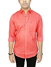 AA' Southbay Men's Peach Orange 100% Paper Cotton Long Sleeve Solid Casual Shirt