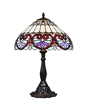 Lampsbuyer Tiffany Style Heart Motif Table Lamp With Dome