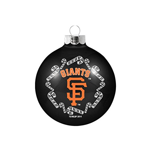 "San Francisco Giants MLB 2 5/8"" Painted Round Candy Cane Christmas Tree Ornament-Black"
