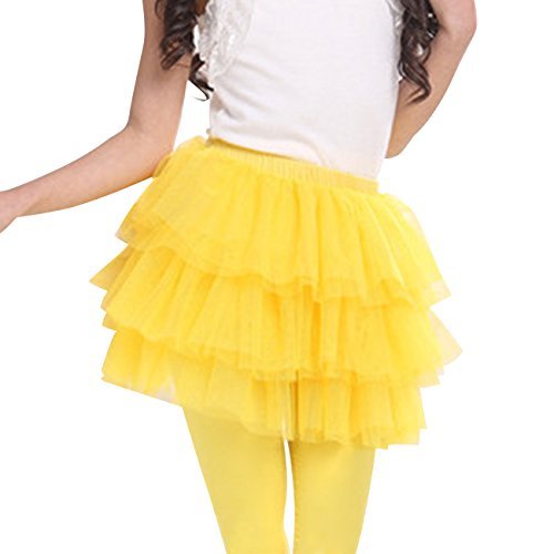 CM-Kid Little Girls Dance Petticoat Solid Color Tiered Tulle Tutu Skirt