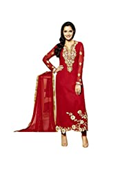 Red Georgette Designer Party Wear Pakistani Salwar Kameez Semi Stitched