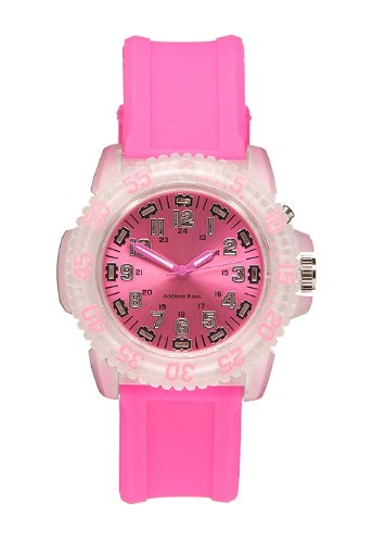 Addison Ross Unisex Quartz Watch with Pink Dial Analogue Display and Pink Silicone Strap WA0301