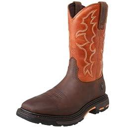 Ariat Men\'s Workhog Wide SquareToe Western Work Boot, Dark Earth/ Brick, 13 D US