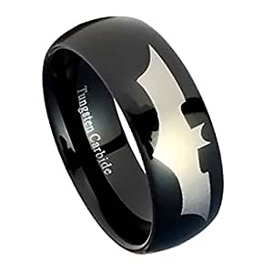 Amazoncom black tungsten wedding band tungsten carbide for Batman wedding rings for men