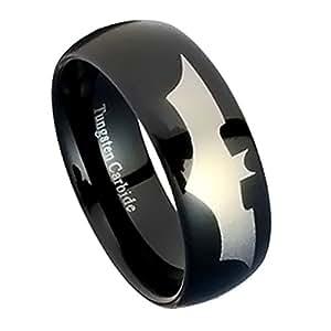 Batman Wedding Rings For Men Amazoncom Black Tungsten Wedding Band Tungsten Carbide